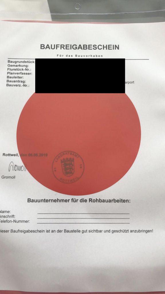 Baufreigabe Landratsamt Roter Punkt