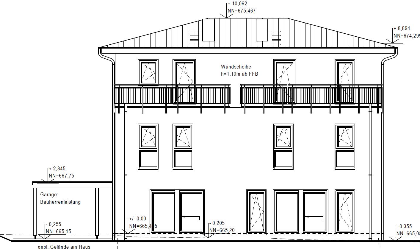 Zeichnung des fertigen Hauses