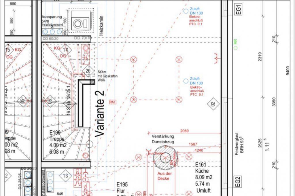 Grundplan mit eingezeichneter Wand