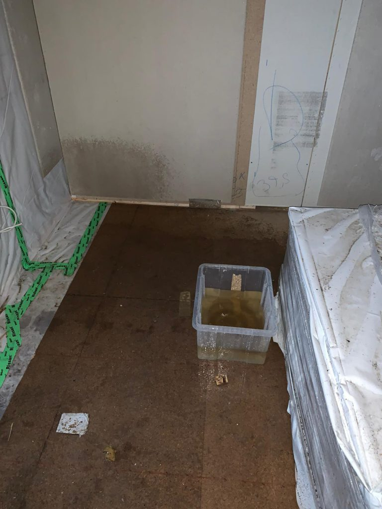 OG Büro Durchnässte Wand und Boden